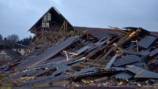 Une ferme a été détruite par la tempête Friederike, àMeimbressen (Allemagne), le 18 janvier 2018. (UWE ZUCCHI / DPA / AFP)