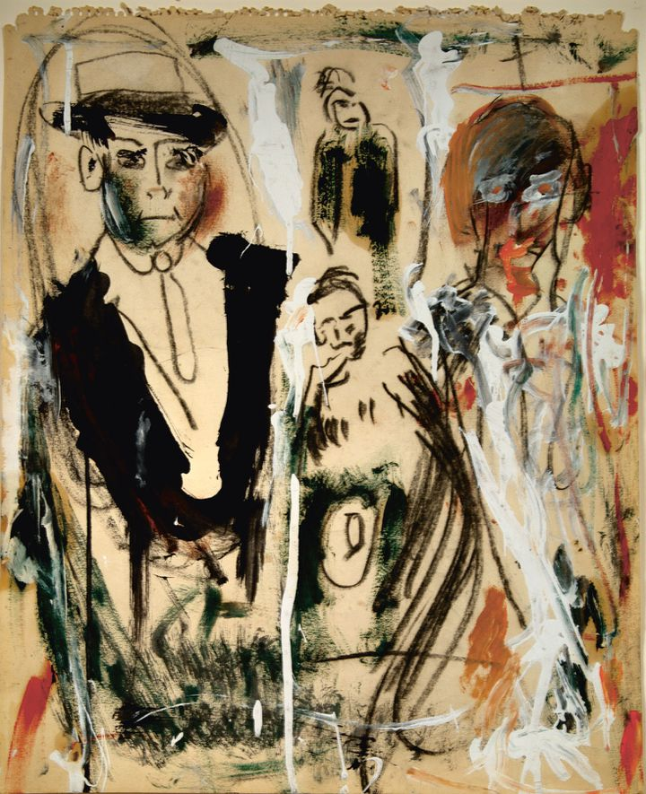 "Jack Kerouac, ""The Slouch Hat"" (huile et fusain sur papier), vers 1960, Il Rivellino Gallery, Locarno  (Jack Kerouac ©John Sampas, Executor, The Estate of Jack Kerouac Photo © il Rivellino Gallery, Locarno)"