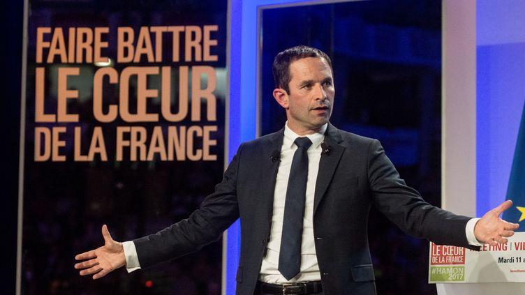 Le candidat socialiste à l'élection présidentielle, Benoît Hamon, prononce un discours lors d'un meeting organisé à Lyon, le 11 avril 2017. (NICOLAS LIPONNE / NURPHOTO)