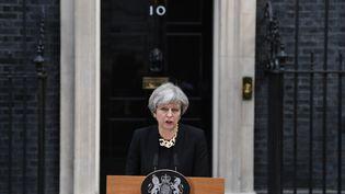 La Première ministre britannique, Theresa May, au lendemain de l'attentat de Londres (Royaume-Uni), le 4 juin 2017. (JUSTIN TALLIS / AFP)