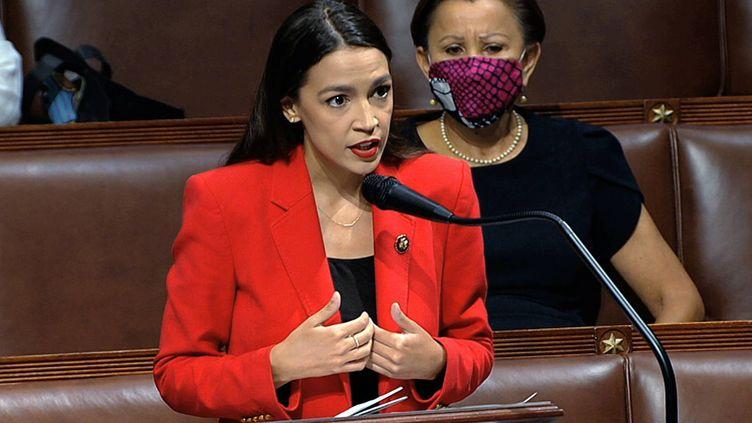 L'élue démocrate Alexandria Ocasio-Cortez s'exprime devant le Congrès américain à Washington (Etats-Unis), le 23 juillet 2020. (AP / SIPA)