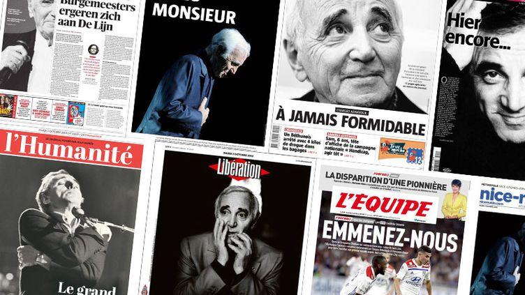 Un montage de 21 unes de journaux consacrés à la disparition de Charles Aznavour lundi 1er octobre 2018. (FRANCEINFO)