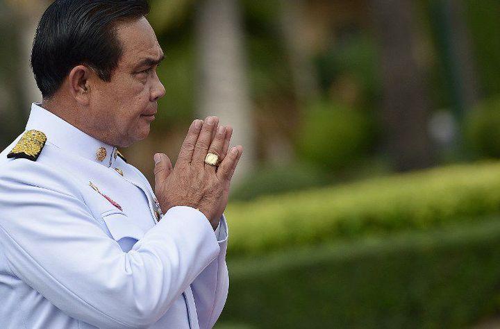 Le chef de la junte et Premier ministre thaïlandais, Prayut Chan-O-Cha. Ce général est à l'origine du coup d'Etat du 22 mai 2014 qui a démis la Première ministre Yingluck Shinawatra, soutenue par les Chemises rouges. (CHRISTOPHE ARCHAMBAULT / AFP)