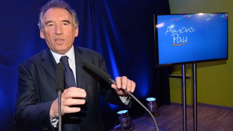 François Bayrou à Pau, au soir du premier tour des élections municipales, le 23 mars 2014. (MEHDI FEDOUACH / AFP)