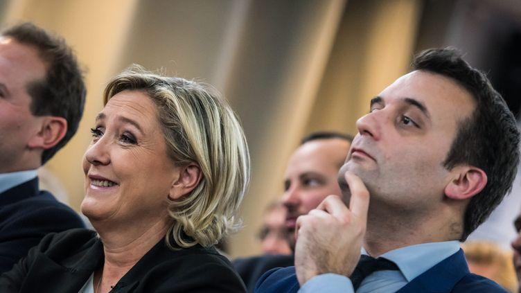 Marine Le Pen et Florian Philippot, côte à côte pendant la campagne présidentielle, se parlent à présent par médias interposés (illustration) (MAXPPP)