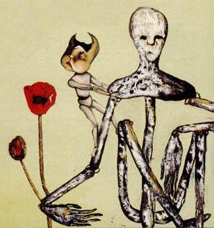"""Cette peinture de Kurt Cobain (signée Kurdt) ornait la pochette d' """"Incecticide"""", l'album de B-Sides de Nirvana sorti en décembre 1992.  (DR)"""