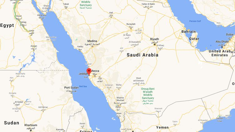 Capture d'écran de Googlemaps pointant Djeddah (Arabie saoudite) où un vigile du consulat de France a été attaquée, le 29 octobre 2020. (GOOGLEMAPS)