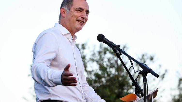Le président autonomiste du conseil exécutif de Corse, Gilles Simeoni, le 13 juin 2021, à Ajaccio (Corse-du-Sud). (PASCAL POCHARD-CASABIANCA / AFP)