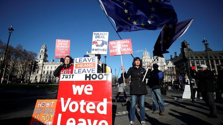 Des militants anti et pro Brexit défilent à Londres le 28 janvier 2019. (HANNAH MCKAY / REUTERS)