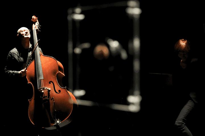 Le musicien d'Exartikulations, Louis-Michel Marion à la contrebasse et à la viole de gambe  (Arnaud Hussenot)