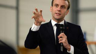 Emmanuel Macron, le 14 février 2019, à Déols (Indre). (GUILLAUME SOUVANT / AFP)