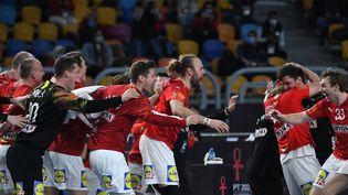 Les Danois savourent leur deuxième titre mondial consécutif, dimanche 31 janvier 2021 au Caire. (ANNE-CHRISTINE POUJOULAT / AFP)
