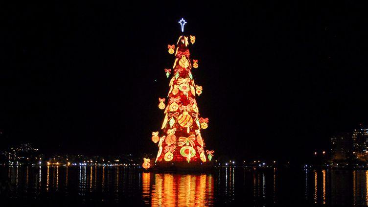 Un arbre de Noël géant sur le lagon de Rio de Janeiro... (1er décembre 2012)  (Ronaldo Brandão / Brasil Photo Press / AFP)
