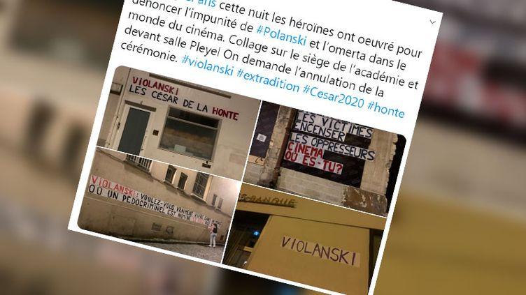 Des collages contre Roman Polanski ont été réalisés à Paris dans la nuit de mardi à mercredi. (CAPTURE D'ÉCRAN TWITTER)