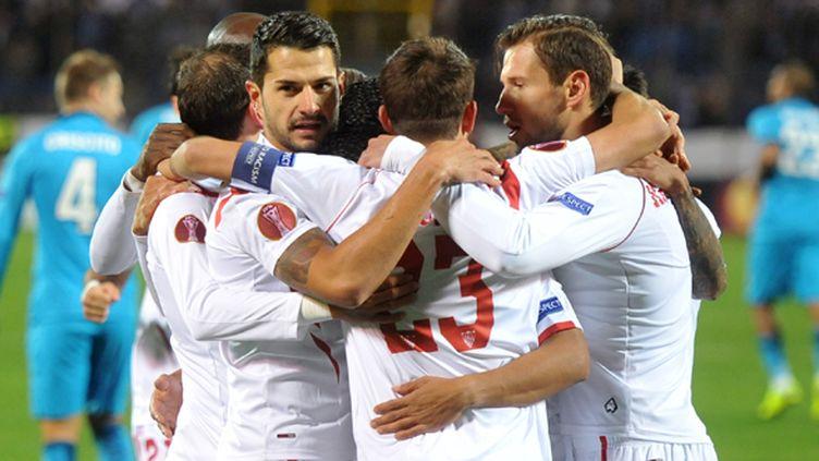 La joie des joueurs du FC Séville (OLGA MALTSEVA / AFP)