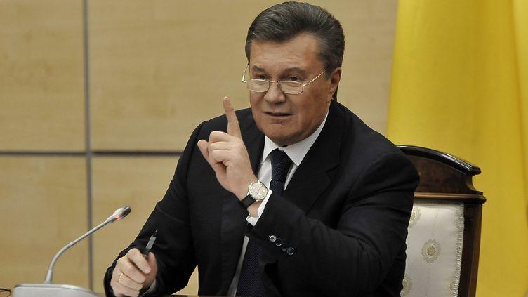 Le président ukrainien déchu Viktor Ianoukovitch, à Rostov-sur-le-Don (Russie), le 28 février 2014. (ANDREY KRONBERG / AFP)
