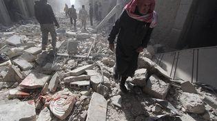 Al-Myassar , un quartier de la ville d'Alep, au nord de la Syrie, bombardée par l'aviatio de Bachar Al-Assad, le 7 février2015 (HOSAM KATAN / REUTERS)