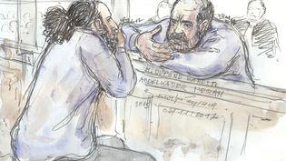 Un dessin représente Abdelkader Merah et son avocat Eric Dupond-Moretti, le 2 novembre 2017. (BENOIT PEYRUCQ / AFP)