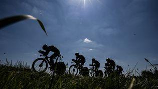 Les coureurs de Direct énergie lors du Tour de France, à Cholet, le 9 juillet 2018. (JEFF PACHOUD / AFP)