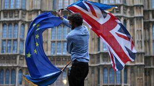 Un homme agite les drapeaux du Royaume-Uni et de l'Union européenne lors d'une manifestation contre le Brexit, à Londres, le 28 juin 2016. (JUSTIN TALLIS / AFP)