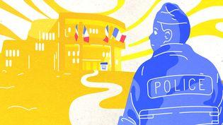 Trois futurs policiers, âgés de 19 à 28 ans, racontent à franceinfo pourquoi ils ont choisi ce métier. (JESSICA KOMGUEN / FRANCEINFO)