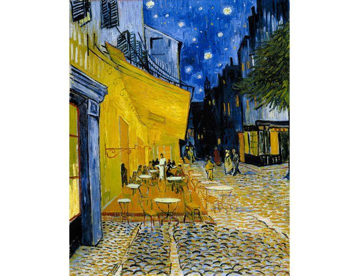 """Vincent van Gogh, """"Terrasse de café la nuit (place du Forum"""", c.16 septembre 1888, Arles (Kröller-Müller Museum)"""