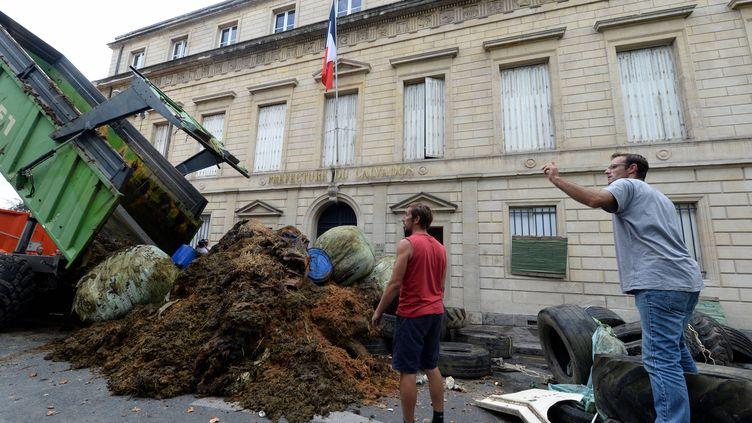 Des agriculteurs déversent des pneus et du fumier devant la préfecture le 14 août 2015 à Caen (Calvados). (  MAXPPP)