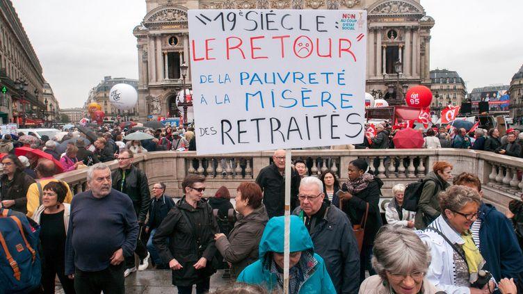 Manifestation de retraités contre la hausse de la CSG à Paris le 28 septembre 2017. (MAXPPP)