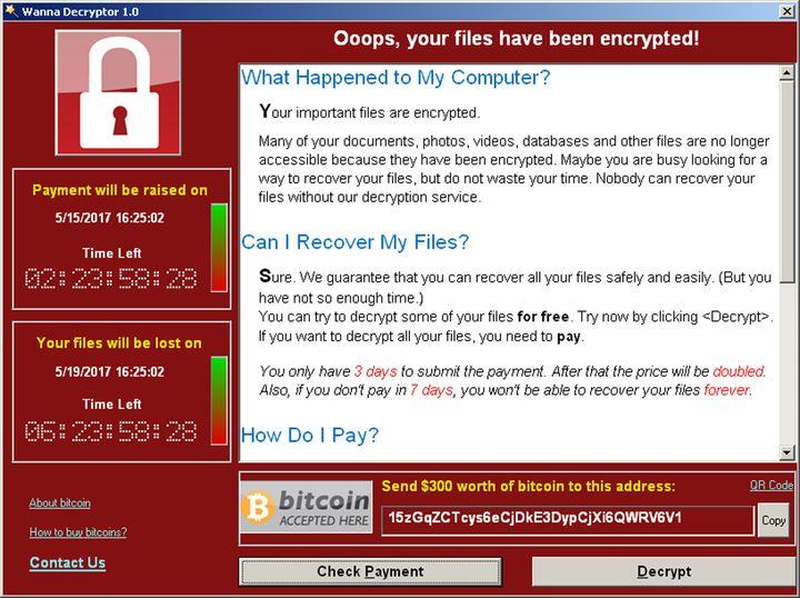 Une capture d'écran du message de rançon affiché par le virus WannaCry, le 15 mai 2017, chez l'expert en sécurité informationque Symantec, à Mountain View en Californie (Etats-Unis). (REUTERS)