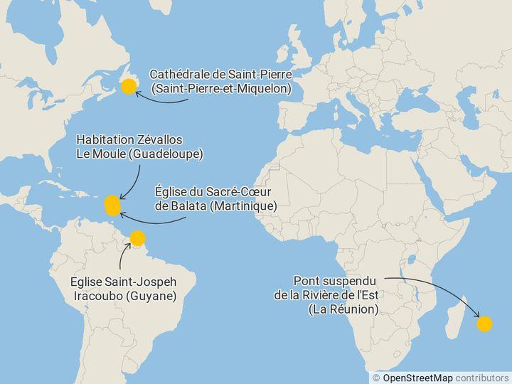 Les sites emblématiques du loto du patrimoine 2020 en outre-mer. (FRANCEINFO)