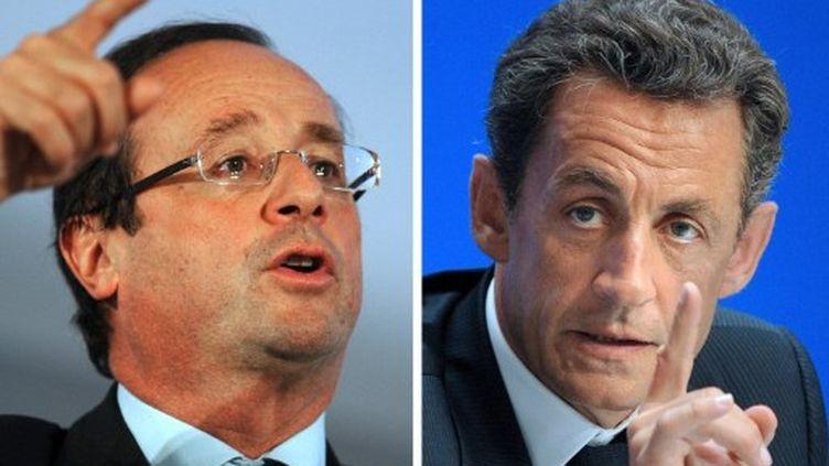 Le candidat PS à la présidentielle, François Hollande, et Nicolas Sarkozy (DOMINIQUE FAGET / AFP)