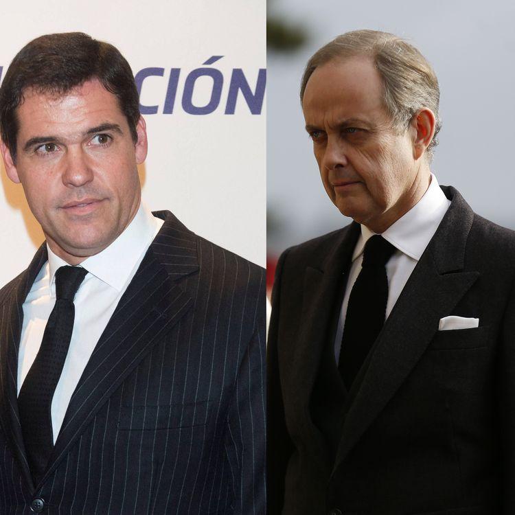 Louis de Bourbon, duc d'Anjou (à gauche) en novembre 2018 à Madrid (Espagne), et Jean d'Orléans, comte de Paris (à droite), le 2 février 2019 à Dreux (Eure-et-Loir). (CHARLY TRIBALLEAU / AFP)