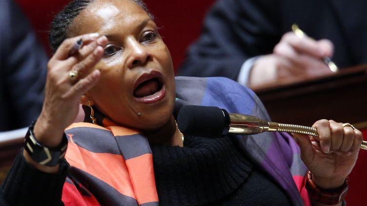 La ministre de la Justice, Christiane Taubira, et le député UMP David Douillet ont eu une vive passe d'armes jeudi à l'Asemblée jeudi 7 février 2013 (PIERRE VERDY / AFP)