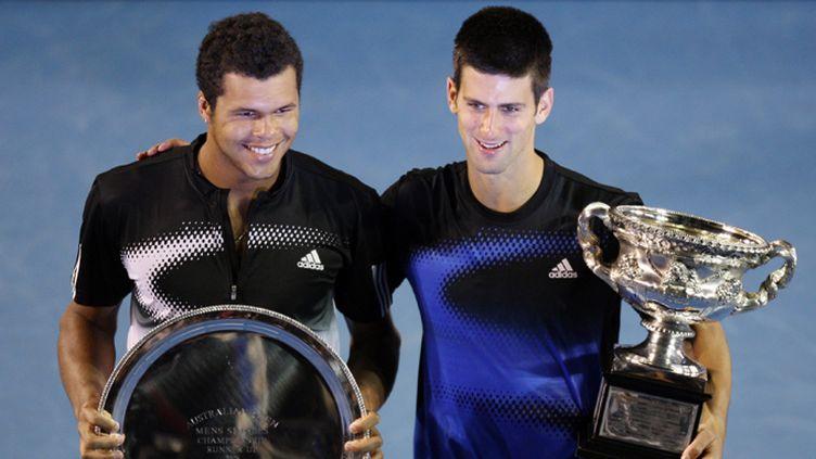 Jo-Wifried Tsonga et Novak Djokovic à Melbourne en 2008