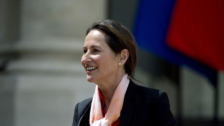 La ministre de l'Ecologie, Ségolène Royal, répond à la presse après ses propos dans Paris Match, le 14 mai 2014, à la sortie du Conseil des ministres. (ALAIN JOCARD / AFP)
