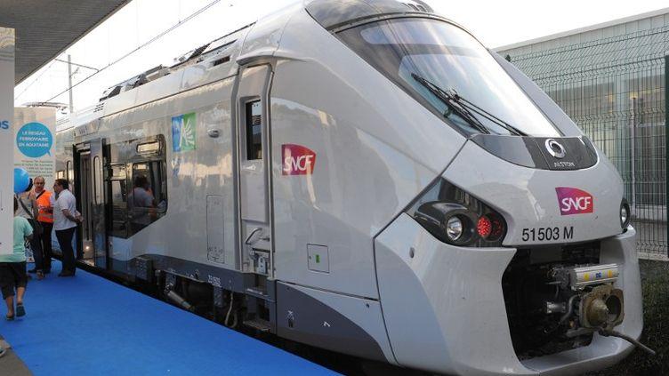La première rame du Regiolis, le nouveau TER réalisé par Alstom,présentée le 4 juillet 2013 à la gare de Bordeaux Saint-Jean (Gironde). (MEHDI FEDOUACH / AFP)