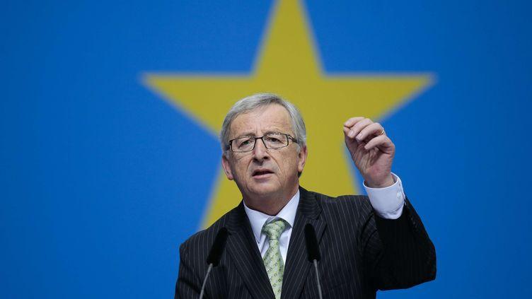 Le Luxembourgeois Jean-Claude Juncker participe à un meeting du parti conservateur allemand CDU, le 5 avril 2014, à Berlin (Allemagne). (MARKUS SCHREIBER/AP/SIPA)