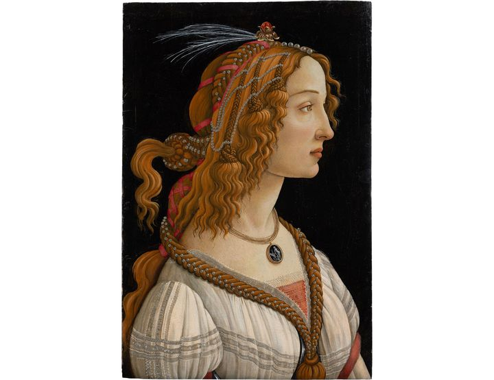 """Alessandro Filipepi dit Botticelli (vers 1445 – 1510), Figure allégorique dite """"La Belle Simonetta"""", vers 1485, tempera ethuile sur bois de peuplier (Francfort-sur-le-Main, Städel Museum, Frankfurt am Main)"""