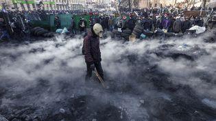 Affrontements entre manifestants et policiers à Kiev (Ukraine), le 23 janvier 2014. (VASILY FEDOSENKO / REUTERS)