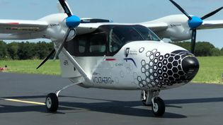 L'avion Cassio 1 atterrit à l'aéroport de Rochefort. (France 3 Poitiers)