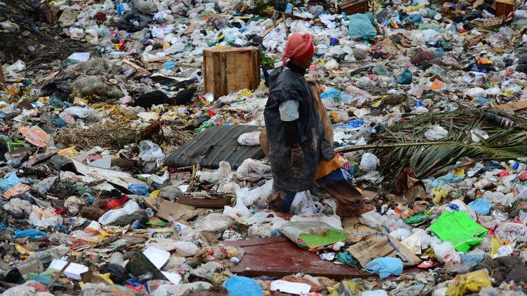 Une personne cherche des ordures susceptibles d'être recyclées à la décharge deGramacho, près de Rio (Brésil), le 15 mai 2012. (CHRISTOPHE SIMON / AFP)
