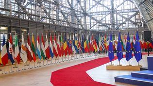 Les drapeaux de l'Union européenne à Bruxelles (28 mars 2019) (NICOLAS ECONOMOU / NURPHOTO / AFP)