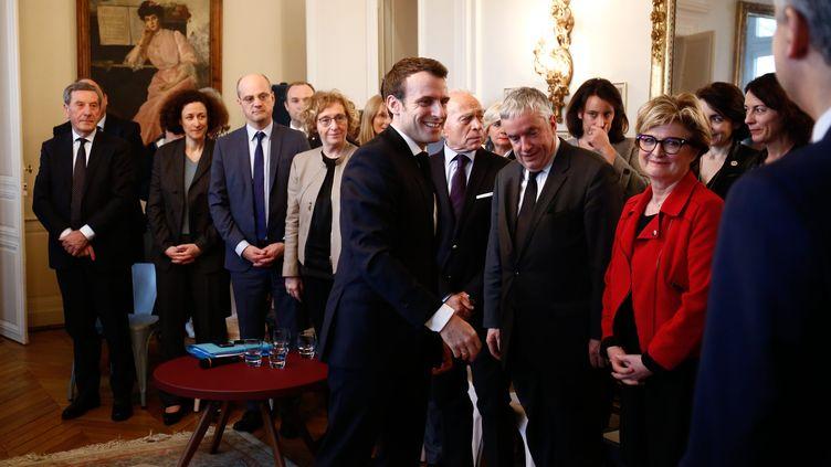Emmanuel Macron à la rencontre d'élus de Saône-et-Loire, le 7 février 2019. (MAXPPP)