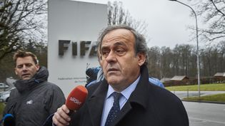 Le président suspendu de l'UEFA s'adresse à des journalistes le 15 février 2015 devant le siège de la FIFA à Zurich. (MICHAEL BUHOLZER / AFP)