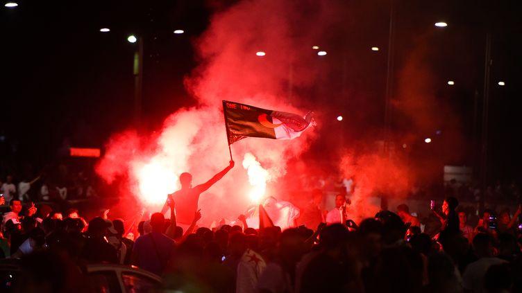 Des supporters de l'Algérie célèbrent la victoire du pays en finale de la CAN, le 19 juillet 2019 à Lyon. (JEAN-PHILIPPE KSIAZEK / AFP)