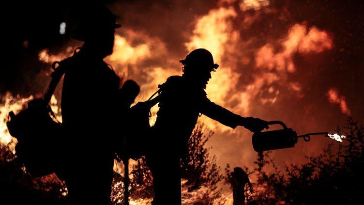Pompiers luttant contre les flammes en Californie, le 22 septembre 2020.  (GETTY IMAGES)