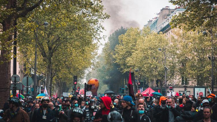 """La CGT déplore 21blessés dont quatre graves et dénonce des """"violences inacceptables"""". (BENJAMIN GUILLOT-MOUEIX / HANS LUCAS)"""