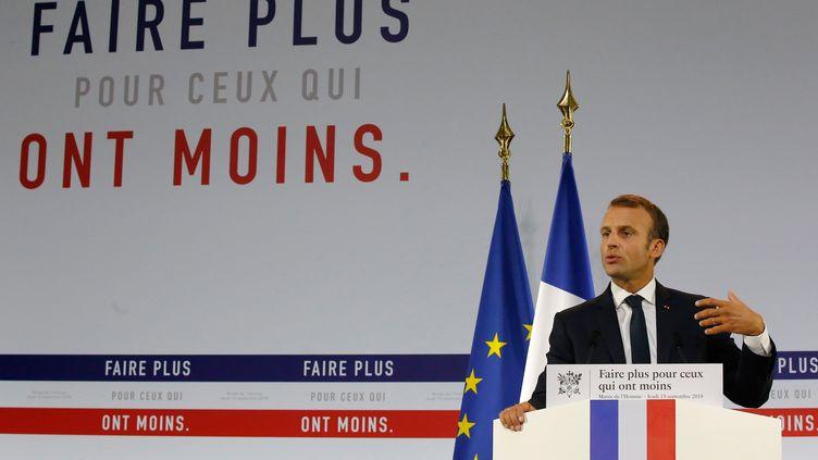 Le président français, Emmanuel Macron, lors de la présentation de son plan pauvreté, le 13 septembre 2018 au musée de l'Homme, à Paris. (MICHEL EULER / AFP)
