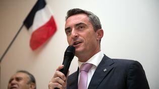 Stéphane Ravier, maire du 7e secteur de Marseille, lors d'un meeting à Marseille (Bouches-du-Rhône), le 28 septembre 2014. (BERTRAND LANGLOIS / AFP)