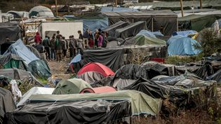 """Le 5 novembre 2015, dans la """"jungle"""" de Calais (Pas-de-Calais). (PHILIPPE HUGUEN / AFP)"""